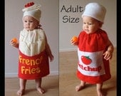 Adult Couples Halloween Costumes Group Mens Womens Teens French Fries and Ketchup Bottle Dress Up Purim Cosplay