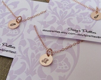 ROSE GOLD- Small Tag  Hand Stamped Single Initial Necklace, mother's gift, family jewelry, bridal gift, bridesmaid, flower girl, monogram