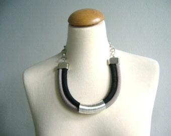 Tribal black grey statement necklace, tube necklace