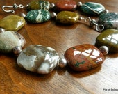 Necklace, Ocean Gallery, Statement Piece, Huge Organic Earthy Natural Gemstone Beads, Large Ocean Jasper, Sterling Silver Throughout, Beauty