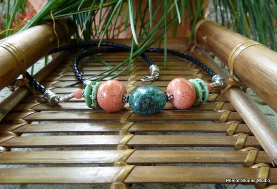 Necklace, Coral Reef, Turquoise, Coral, Bali Silver, Black Braided Leather, Tropical, Beachy, Summer Fashion