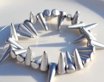 Matte Silver SPike Beads  12