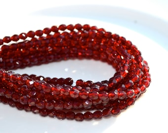 Garnet Red 4mm Faceted Fire Polish Round Beads   50