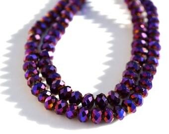 Mardi Gras Metallic Purple 7x4mm Crystal Rondelle Beads   25