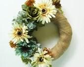 "Gerberas and Roses 17"" Burlap-Covered Straw Wreath"