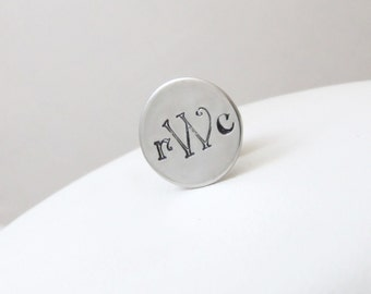 Personalized Hand Stamped Tie Tack - Groomsmen, Groom, Father of the Bride