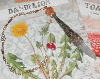 GOLDEN Dandelion Fairy CRYSTAL Divination PENDULUM with Toadstool