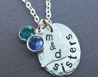 Sisters Necklace -Personalized Sterling Silver Necklace - Hand-Stamped- S175