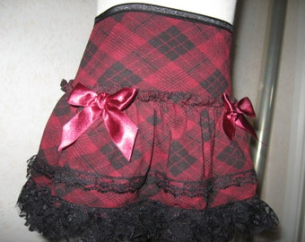 sequoia-Black,Burgundy Red,Check Lace Frilly Skirt,Punk-All sizes,Goth,Rock,Lolita,Gift