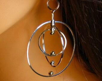Sterling silver, kinetic, twirling, dangle, hoop earrings, gift