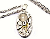 Steampunk Necklace - Gorgeous Vintage WALTHAM Oval Steam Punk Clockwork Design - PROMPTLY SHIPPED - Steampunk Jewelry By London Particulars