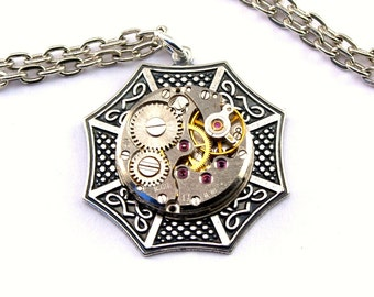 Steampunk Necklace - Beautiful Celtic & Vintage Clockwork Design - PROMPTLY SHIPPED - Steampunk Jewelry By London Particulars