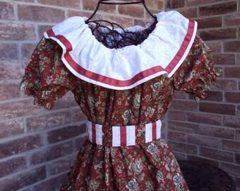 Victorian Party Dress Prairie dress So. Belle , Civil War, Oklahoma  rusty maroon, girls size 10 OOAK