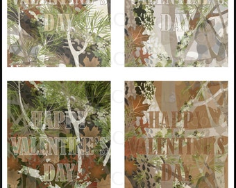 Mossy Woods Valentines Day Cards - kids class exchange DIY Printing boy camo hunter hunting oak military Jpg & Pdf[Instant Download]