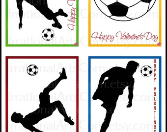 Valentines Day Cards Soccer set 2 BOYS - for kids classroom exchange DIY Printing Valentine Boy silhouettes JPG & Pdf{Instant Download}