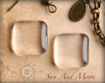 10 Premium Glass Square Pendant Tiles ~ Puffy 1/2 Inch ~ Glass Gem ~ Perfectly Smooth Edges ~ The SuN And MoON FX COLLECTION