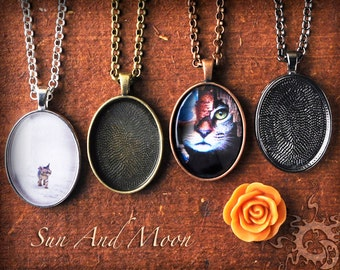 """3 ~ Pendant and Glass 22x30mm OVAL Kit~ Make a Beautiful Pendant Necklace With This DiY Kit ~ Bezels, FX Glass & 24"""" Necklace"""