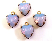 4 Vintage Pinfire 9x8mm Preset Fire Opal Czech Glass Hearts in Closed Back 1 or 2 Loop Brass Prong Settings, Drop/Charms or Link/Connectors