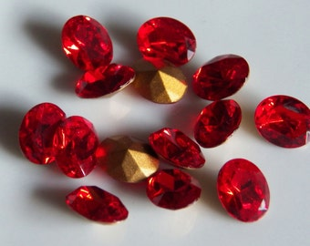 Vintage Swarovski Light Siam 10x8mm Oval Faceted Austrian Crystal Pointed Back Jewels (6)