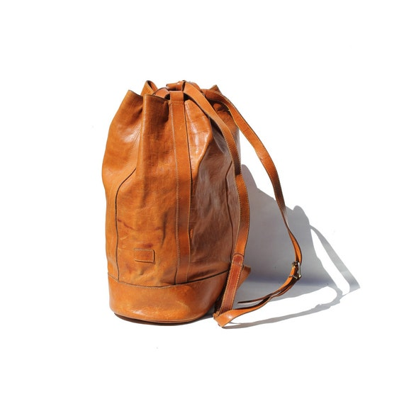 Mocha Brown Italian Leather Sling Backpack Bag