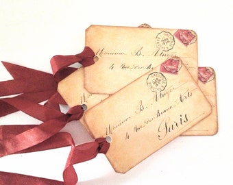 Paris Love Letter Gift  Tags, Letter Gift Tag, Bridal Shower Party, Vintage Paris Envelope Tag, French Love Letter Tag, Parisian Bookmark