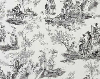 MIDNIGHT PASTORAL Black and White Alexander Henry Day of the Dead Toile, Skeleton Cotton Quilt Fabric - by the Yard