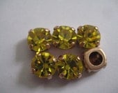 Lot of 6 8mm Citrine Swarovski Chaton Cut Rhinestones in Brass Sew On settings