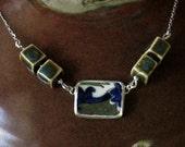 Vintage Broken China, Ceramic Shard Necklace, Ceramic Beads and Sterling Silver, Japan Scene Dish