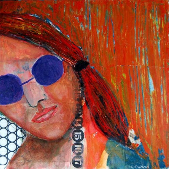 Acrylic Portrait Collage Painting 10x10 Canvas Original, Mixed Media, Bronzed, Face, Orange Sunlight, Purple Sunglasses, Circles, Numbers