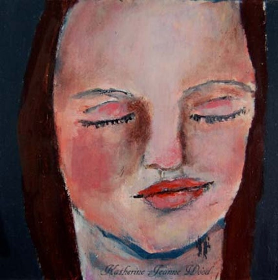 Acrylic Portrait Painting Woman Eyes Closed 6x6 Canvas by ...
