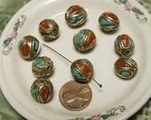 Turquoise Coral Bead - 2 pcs - Handmade -NP701 - Nepal India Tibet