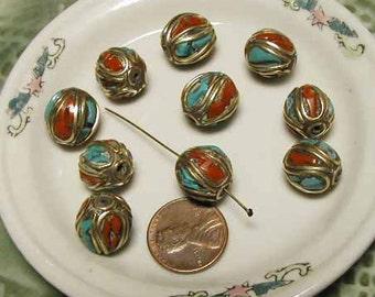 Turquoise Coral Bead - 2 pcs - Handmade - Nepal India Tibet