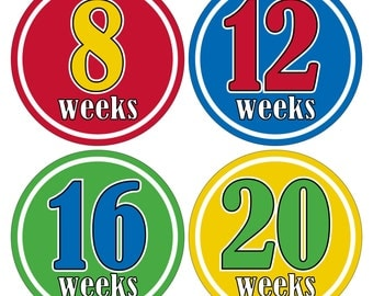12 Weekly Pregnancy Mama-to-be Maternity Waterproof Glossy Stickers  - Monthly stickers available - Design W009-03