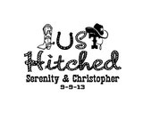 Personalized Just Hitched cowboy themed decal 5.8in wide  x 4 in tall with names
