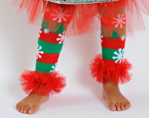 "Christmas Candy Stripe snowflakes Girls Ruffle Tutu Leg Warmers Perfect for Holidays, Photo Prop, Christmas Party sz 6m & up approx 12"" long"