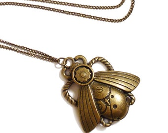 Steampunk necklace MECHANICAL BEETLE Victorian gothic antique brass goth gothic