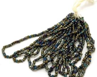 Vintage Seed Beads Iris Finish Size 13 Three Cuts Full Tiny Hank