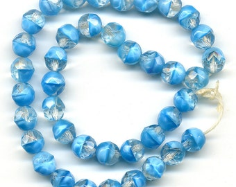 Vintage Blue Beads 7mm Faceted Aqua Givre Glass 40 Pcs. Made W. Germany