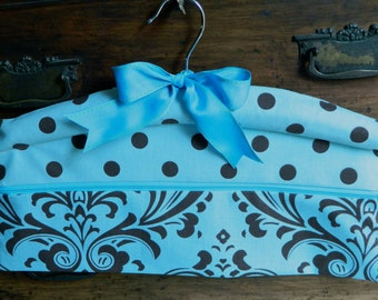 Travel or Home Closet Hanger Safe in Damask Turquoise and Brown