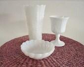 Vintage Milk Glass Vase Goblet Bowl