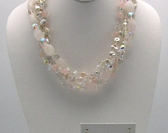 Rose Quartz and Keshi Pearl Necklace Set