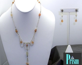 Dainty Moonstone Necklace Set