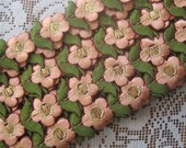 1 Yard Extra Fancy 1 Inch Embroidered Cutwork Trim In Peach And Green Gold Metallic