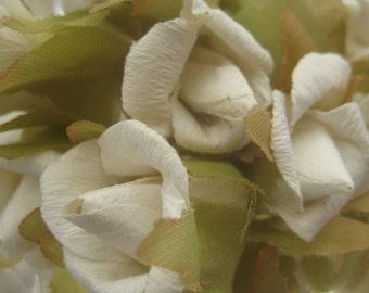 Paper Millinery Flowers 24 Handmade White Blossoms