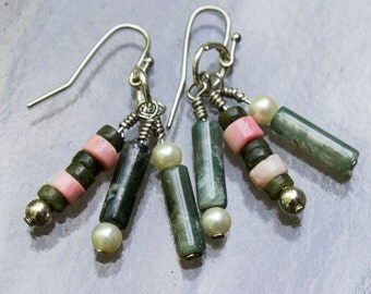 Agate and Pink Heishi Chandelier Earrings
