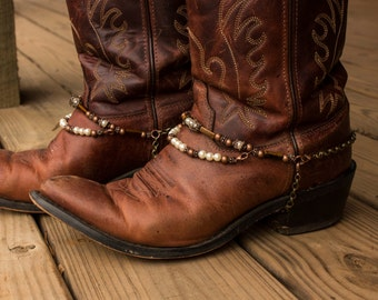 Brass and Copper with Pearls Adjustable Western Cowboy Boot Jewelry with Tiger's Eye