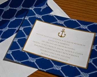 Nautical Wedding Invitation | Anchor Invitation | Rehearsal Dinner  Invitations | Seaside Invites | Nautical Invites