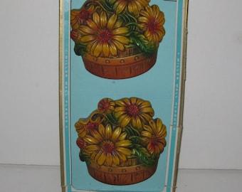 Vintage Miller Studio Chalkware Floral Basket Wall Hanging Plaque In Box
