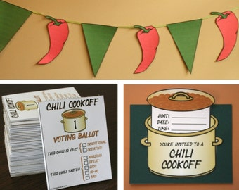 Chili Cookoff Printables -- DIGITAL -- Invitation, Voting Ballots, Chili Pot Labels, Banner, and More!