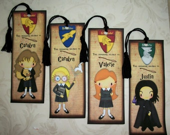 WIZARDS -  Bookmarks - Wizards - Set of 4 Bookmarks - Personalized - Stocking Stuffers - HP 4409